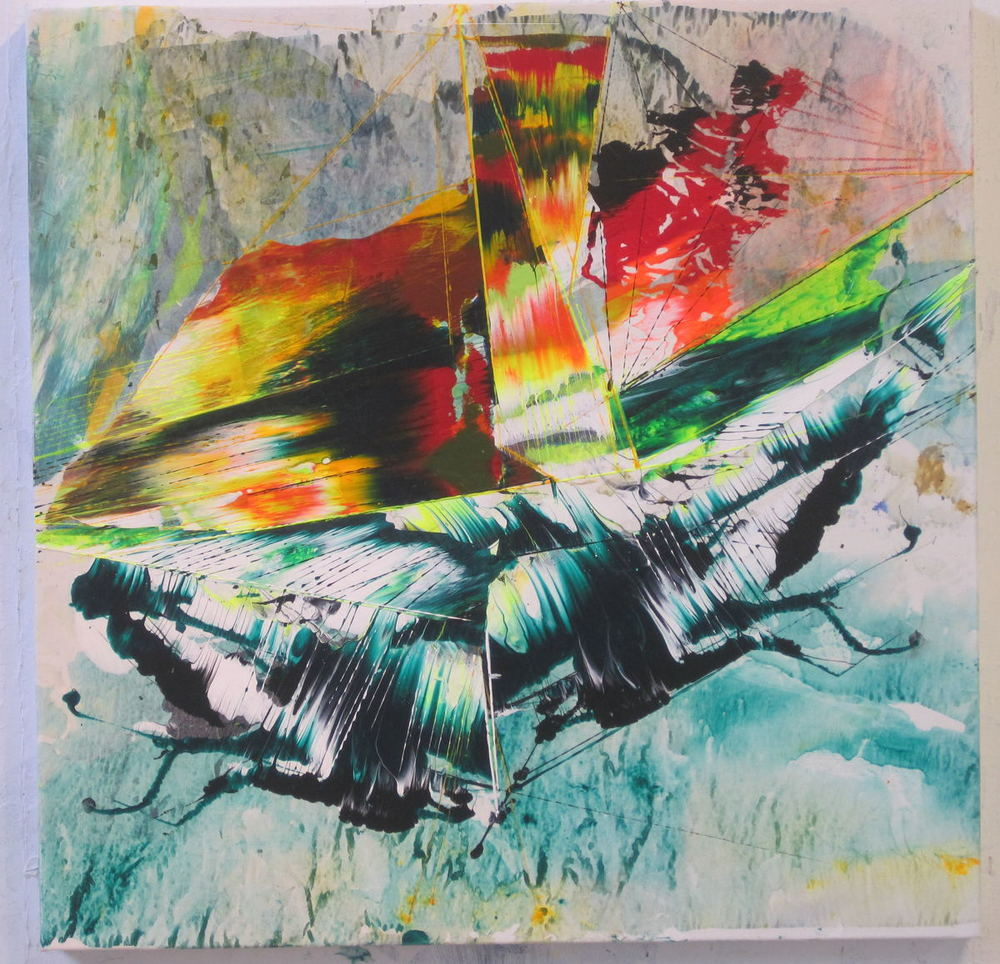 "Pierce , 2013 Acrylic & glassine on canvas 30""x30"""