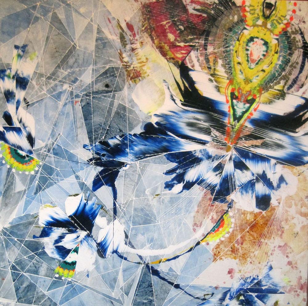 """Sympathy Flower  Acrylic & glassine on canvas 30""""x30"""""""