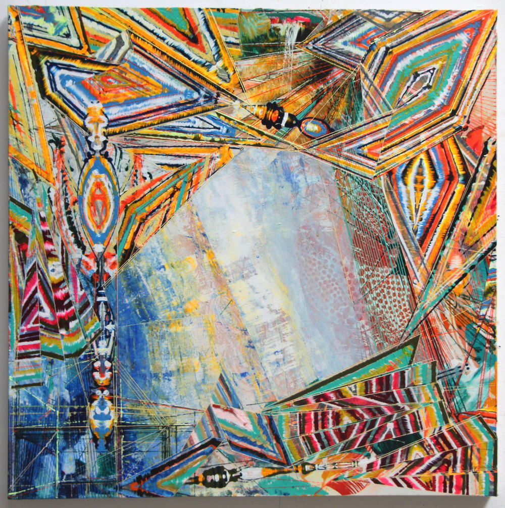 "Portal , 2013 Acrylic & glassine on canvas 30""x30"""