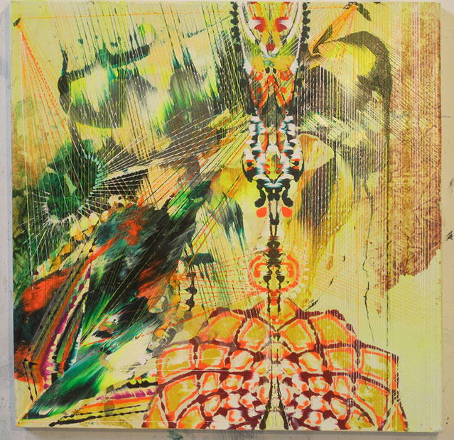 "Restrain , 2013 Acrylic & glassine on canvas 24""x24"""