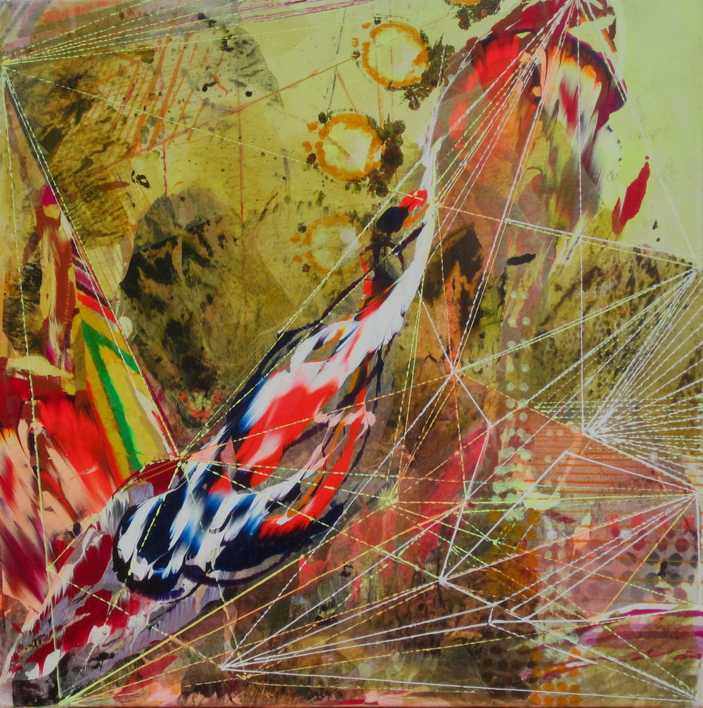 "Slip , 2011 Acrylic & glassine on canvas 24""x24"""