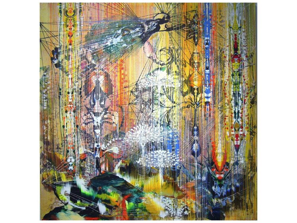 """Summer Rain,  2012 Acrylic & glassine on canvas 30""""x30"""""""