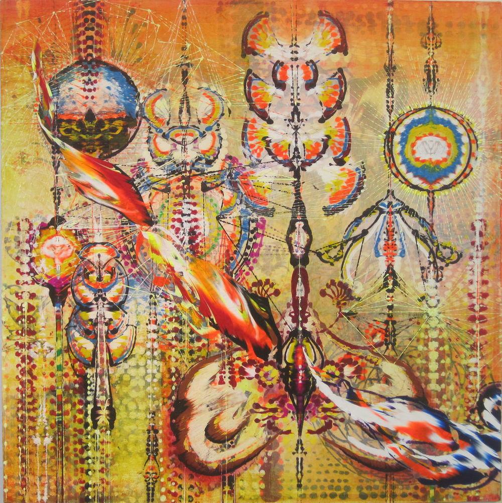 "Spontanious Combustion,  2011 Acrylic & glassine on canvas 30""x30"""