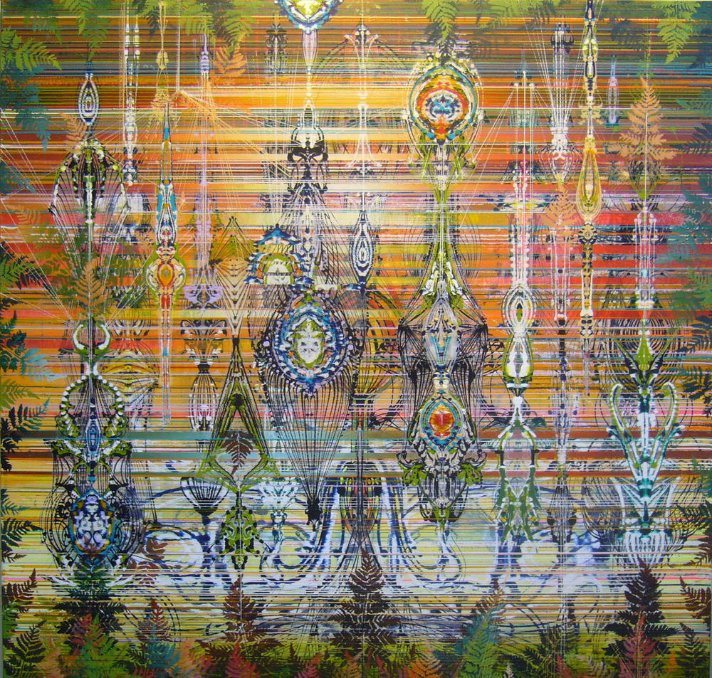 "Arpeggio,  2011 Acrylic & glassine on canvas 42""x42"""