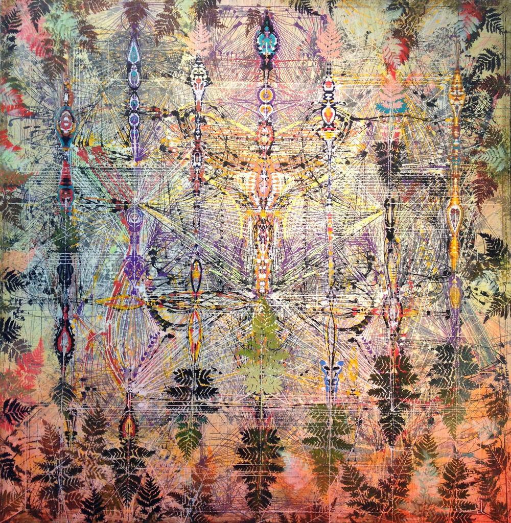 "Requiem , 2013 Acrylic & glassine on canvas 42""x42"""