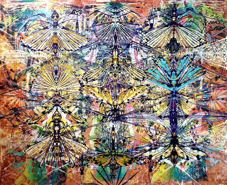 "Mimicy , 2013 Acrylic & glassine on canvas 76""x83"""