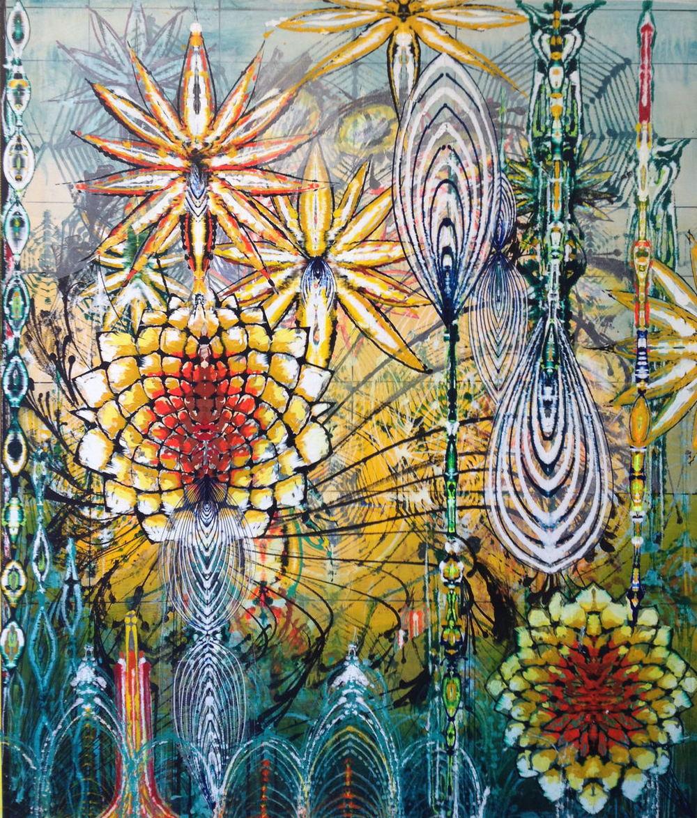 "Baroque Garden I,  2013 Acrylic & glassine on canvas 72""x 60"""