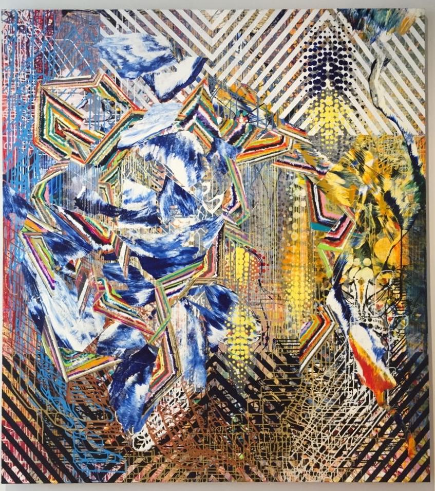 """Flashpoint/Nomadic Geometry, 87""""x76"""",2016, acrylic on canvas,"""