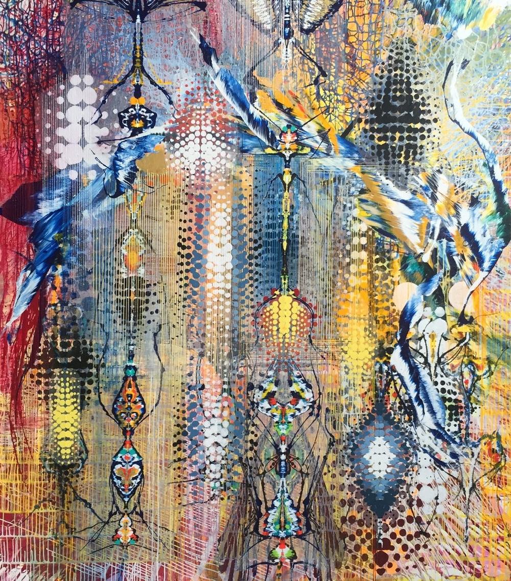 "Crossbreeding II, 87""x76"", acrylic on canvas, 2016"