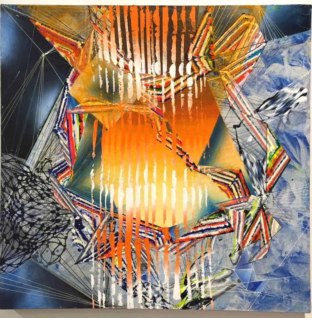 "Singe,  2014 Acrylic & glassine on canvas 30""x30"""