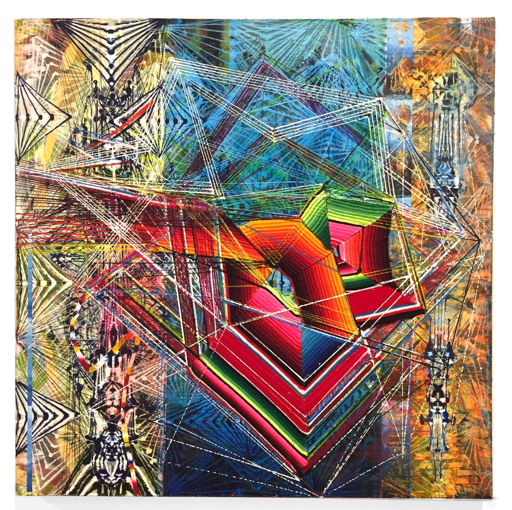 "Serape I , 2015 Acrylic, glassine & cotton on canvas 30""x30"""
