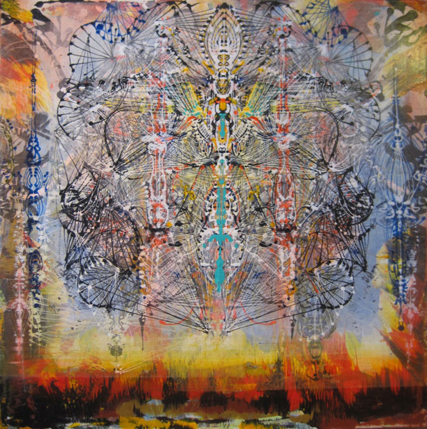 "Babylon , 2011 Acrylic and glassine on canvas 30""x30"""