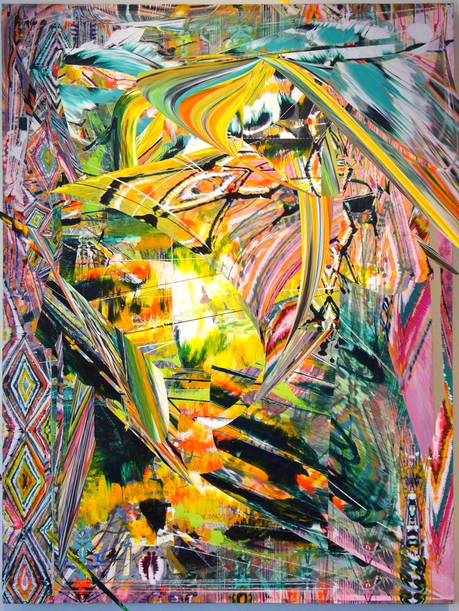 "Acrylic & glassine on canvas 42""x30"""