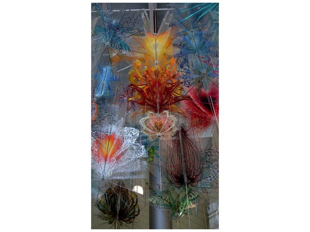 "Bloom , 2012  Acrylic on plexiglass, steel structure, hardware 240""x180"""