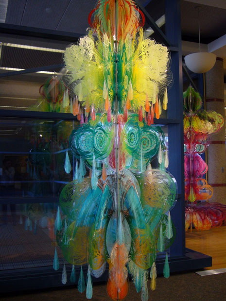 "Attempt to Breathe and Kachina,  2010  acrylic on plexiglass, each 140""x60"""