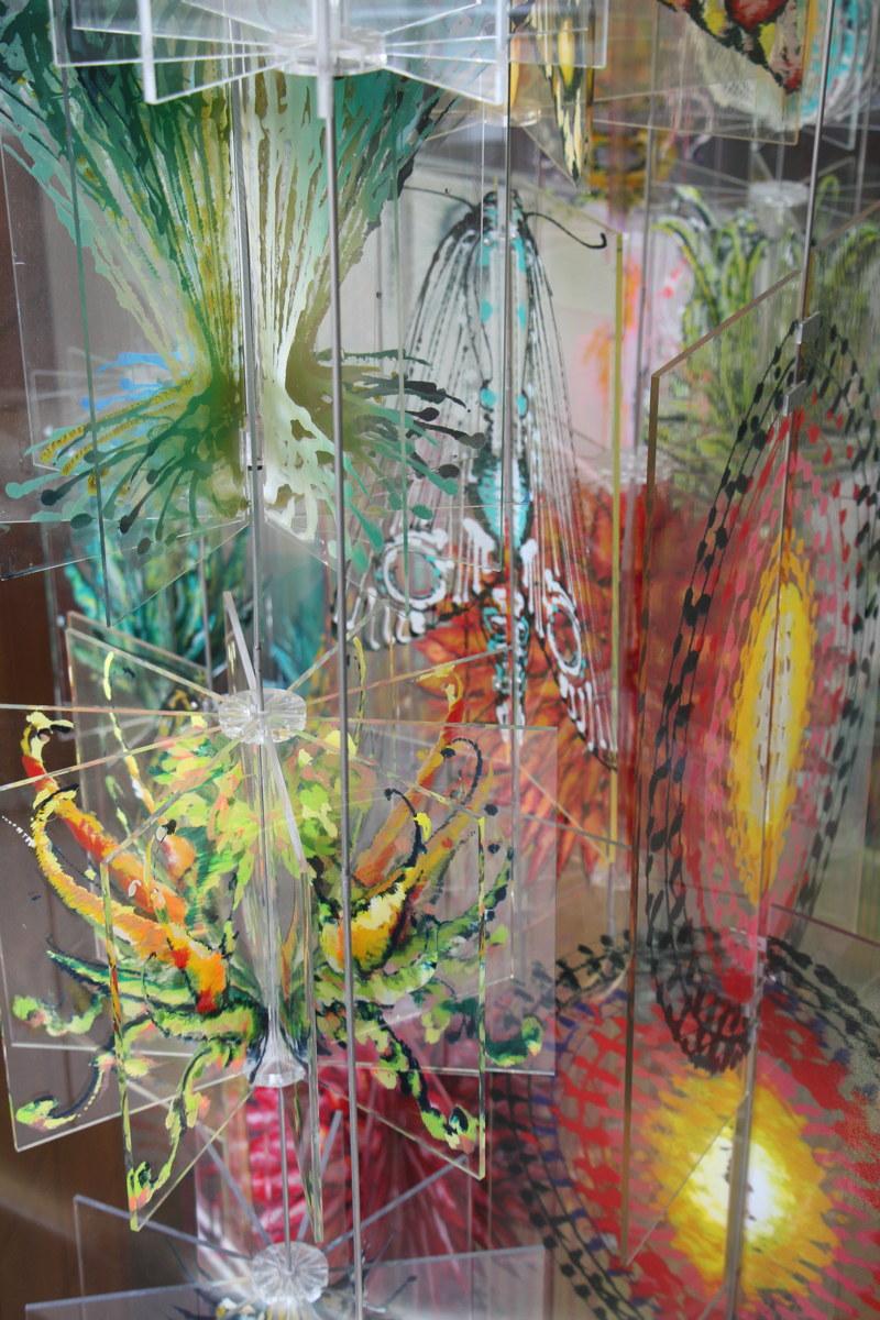 """Giardini, (detail) 2007  acrylic on plexiglass, stell rods, 240""""x200""""x180"""""""