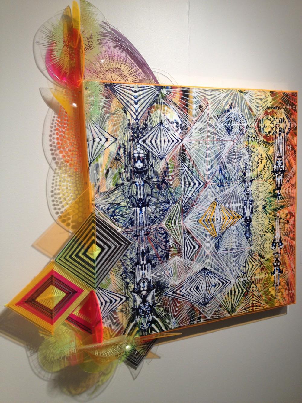 "History,  2012 Acrylic, glassine And plexiglass on canvas,37""x45"""