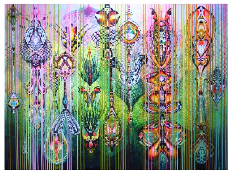 """Hybrid Garden  2008 Acrylic and glassine on canvas, 72""""x89"""""""