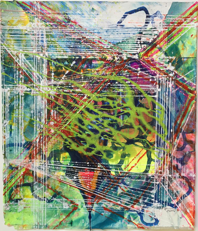 "Yamuna Series, 2015  Acrlic on paper 13""x11"""
