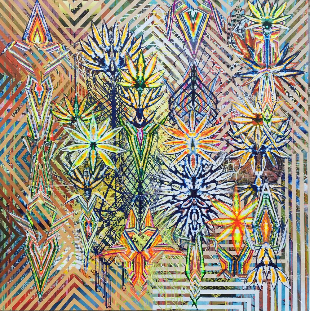 "Synthetic Mutation, 82""x82"", acrylic on canvas, 2016"