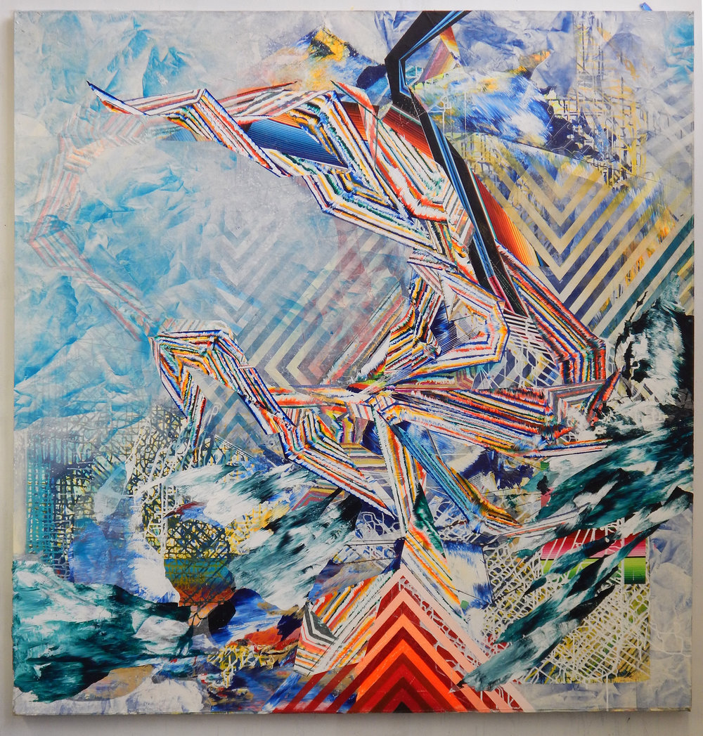 "Border Crossing, 82""x82"", acrylic on canvas, 2016-17"