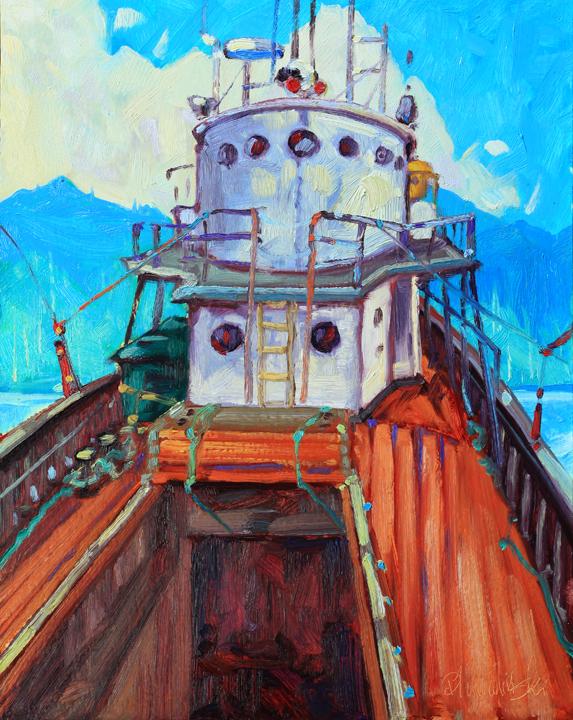 """'Bridge - Uchuck III'  14"""" x 11""""oil on board - $ 1490.00"""