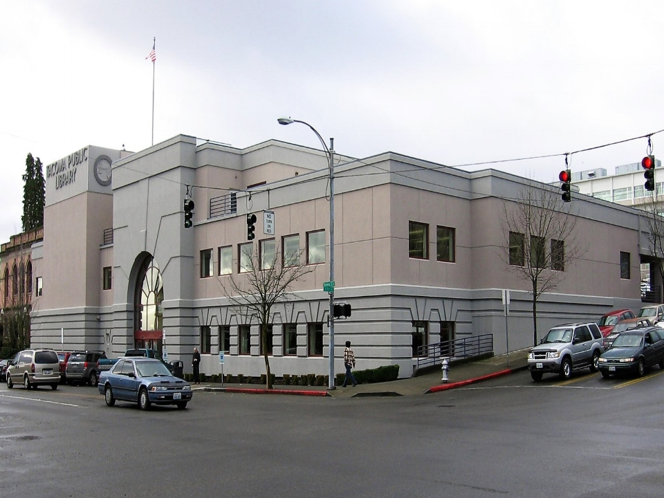 The Tacoma Public Library Main Branch is located in downtown Tacoma. This location has convenient street parking and is served by many bus lines, such as the 1, 11, 41 and 45.