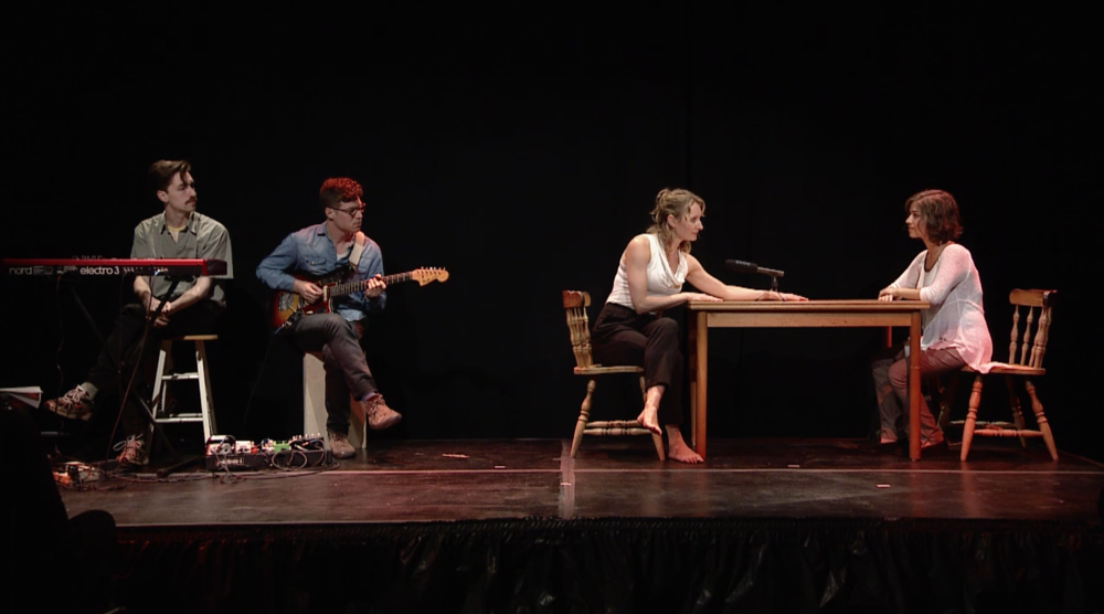 "A still from ""Everything You're Told"" at Brooklyn College. From left: Oliver Hill, Nolan Green, Kristin Swiat, and Xandra Clark."