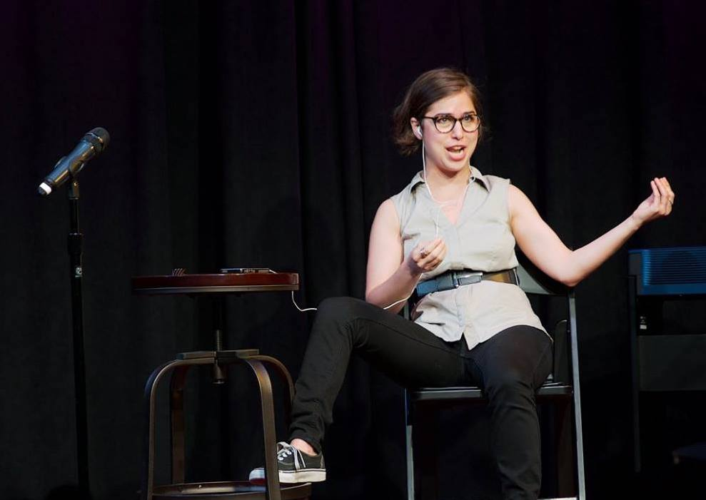 Performing an excerpt of  Polylogues  at Caveat in May 2018. Photo: Rachel Hamburg.