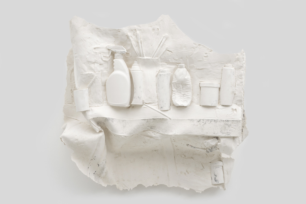 Shelved , 2014 Gypsum cement, fiberglass cloth, wood 35 x 36 x 18 inches