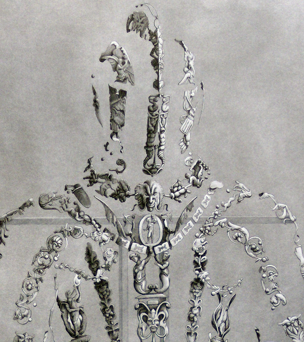 DETAIL  Display of Power , 2011 Charcoal and black pen on paper 44 x 30 inches