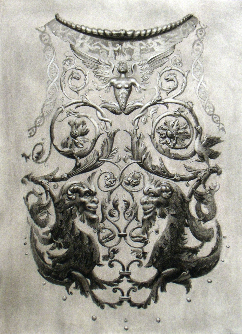 Cuirass , 2011 Charcoal on paper 30 x 22 inches