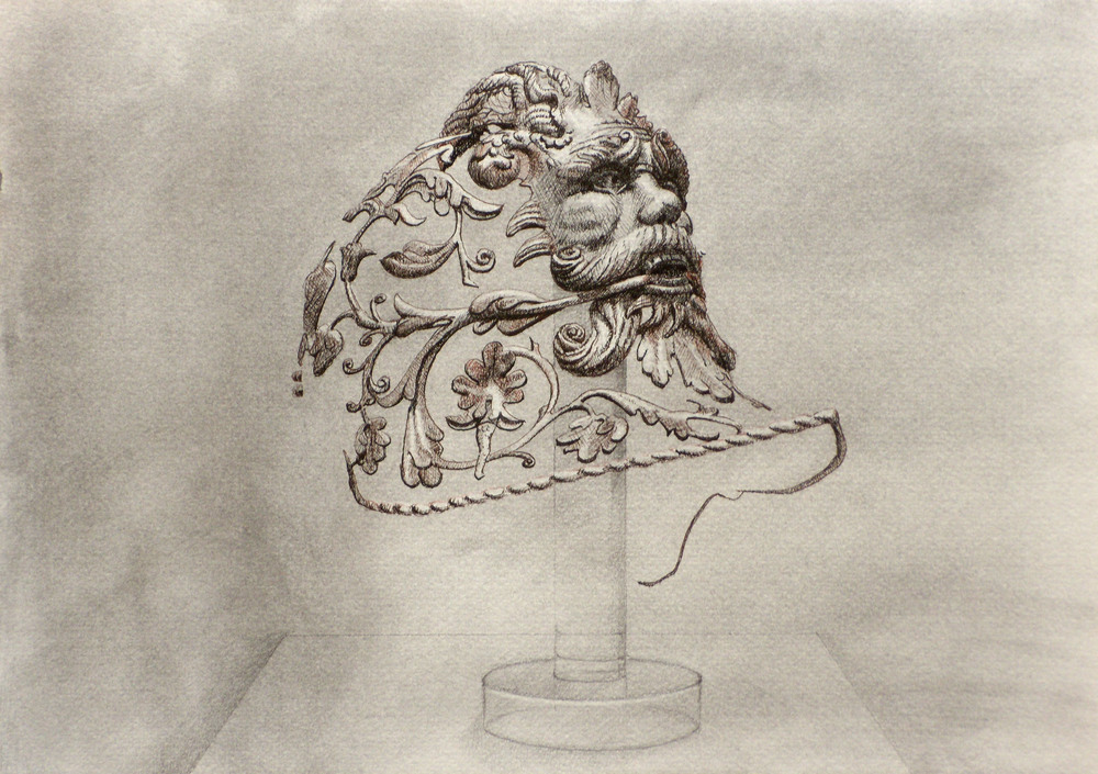 Isolated Helmet Decoration   I , 2010 Graphite, charcoal, black and brown pen on paper 8 x 11 1/2 inches
