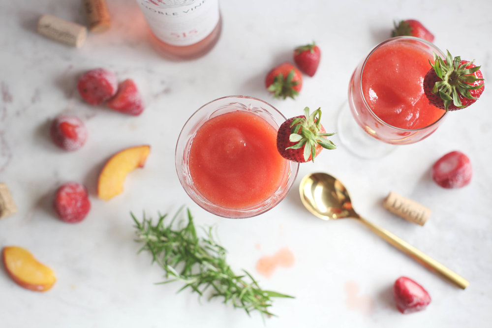 Peach and Strawberry Frosé with Rosemary Simple Syrup