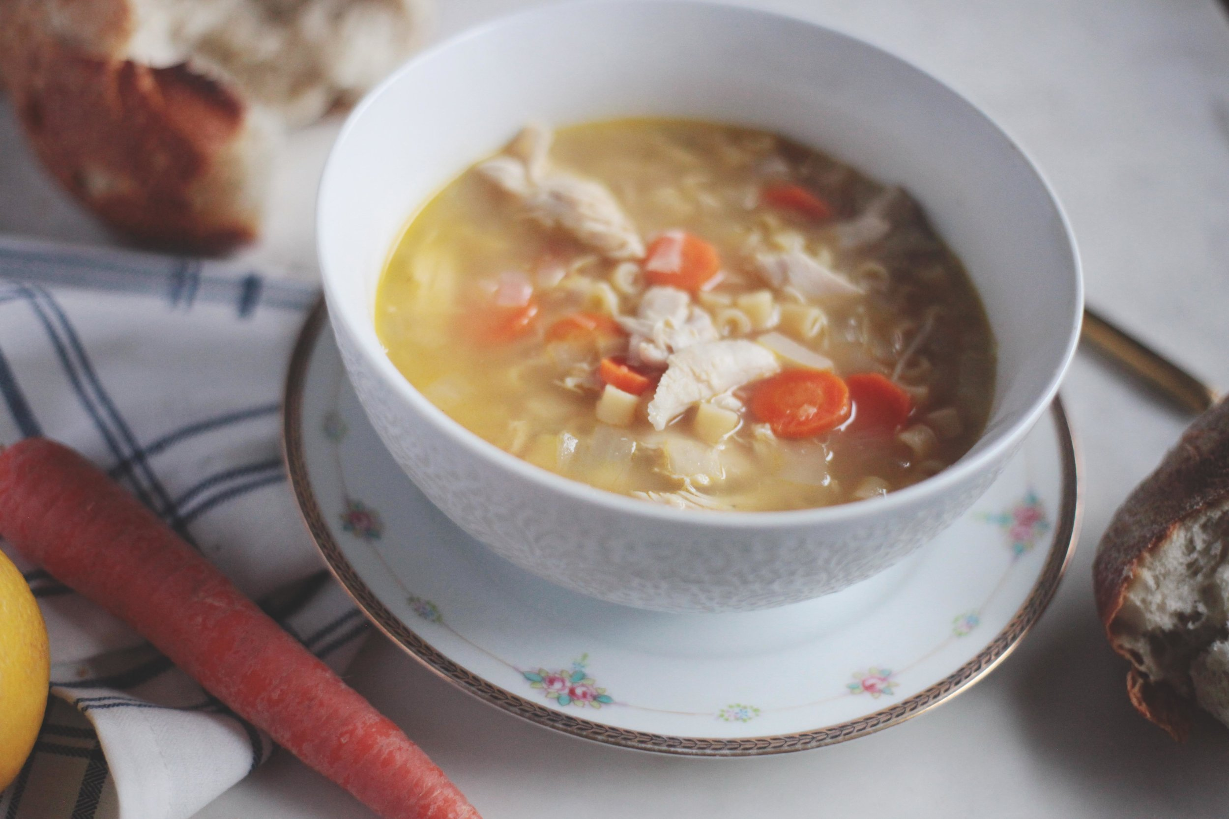 Lemon Chicken Soup with Pasta - Tastemaker Blog