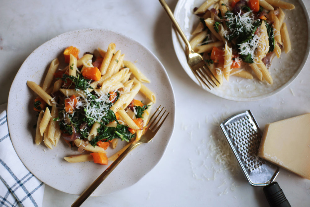 Pasta with Caramelized Onions, Butternut Squash, and Kale - Tastemaker Blog
