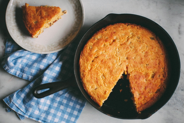 Green Chile Skillet Cornbread - Tastemaker Blog
