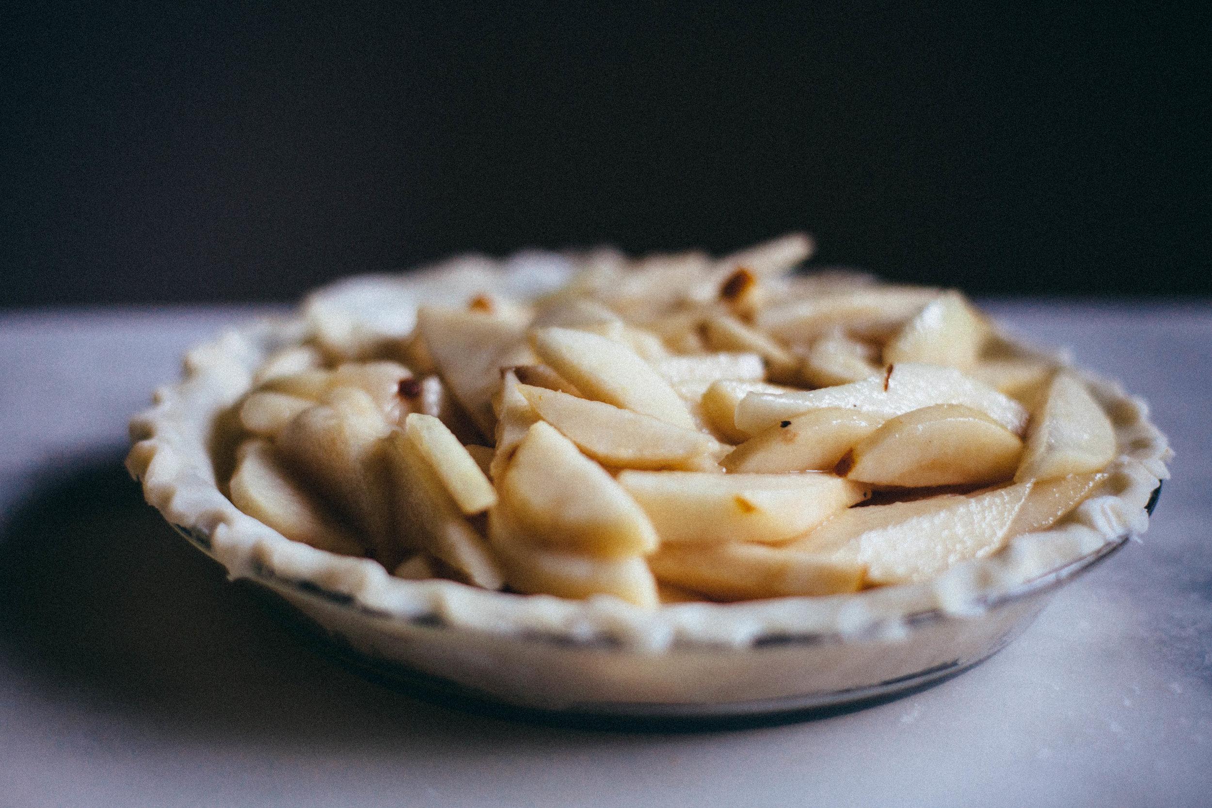 Winter Pear Streusel Pie with Salted Caramel Sauce - Tastemaker Blog