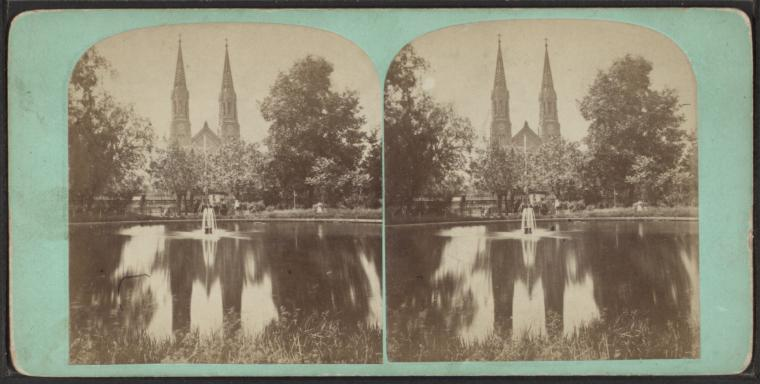 STEREOSCOPIC VIEW   of St. George's Church, Stuyvesant Square, circa 1860. Courtesy of the New York Public Library Digital collection.
