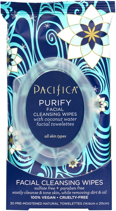 6. Pacifica Cleansing Wipes - Facts: Formulated without: animal ingredients, animal testing, mineral oil, parabens, phthalates, petroleum, propylene glycol, SLS, gluten, & peanut oil.Shop Here