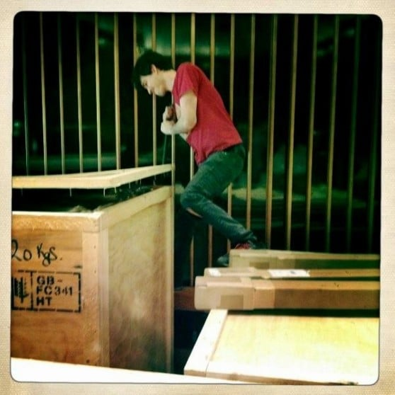 Tim opening the Neve 88R crates in Capitol Studio A