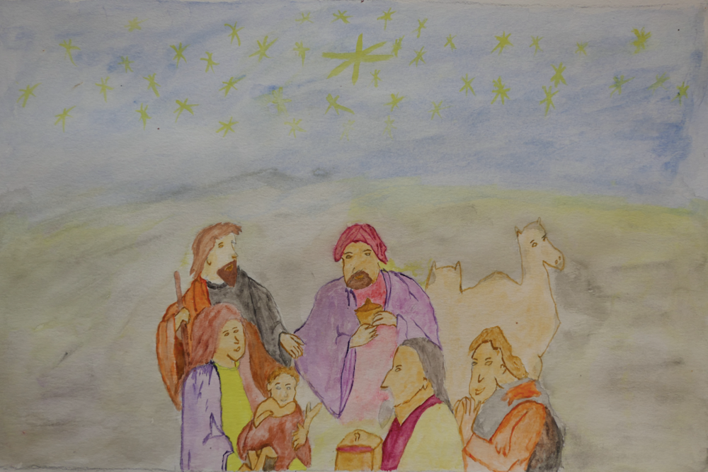 This watercolor nativity scene was painted by Esami, a 19 year old who has lived at Kuda Vana for more than a decade.