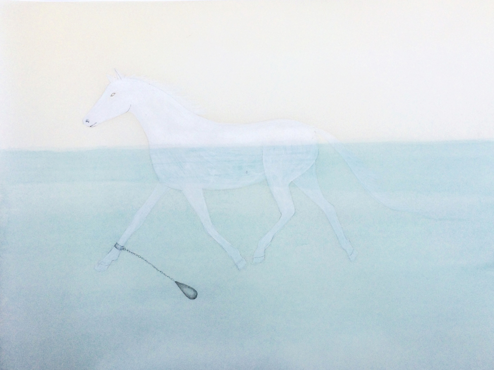 "Susan Jamison, Feral Sea Swim, graphite, watercolor on paper, 12""x16"", 2015"