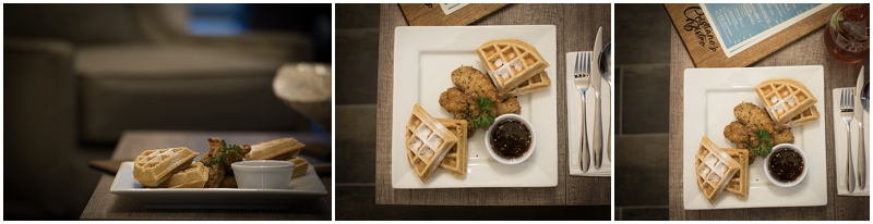 South Side Chicken and Waffles - A popular option on the Waffle menu. Also available are Vanilla, Chocolate Chip and Fruit Compote.