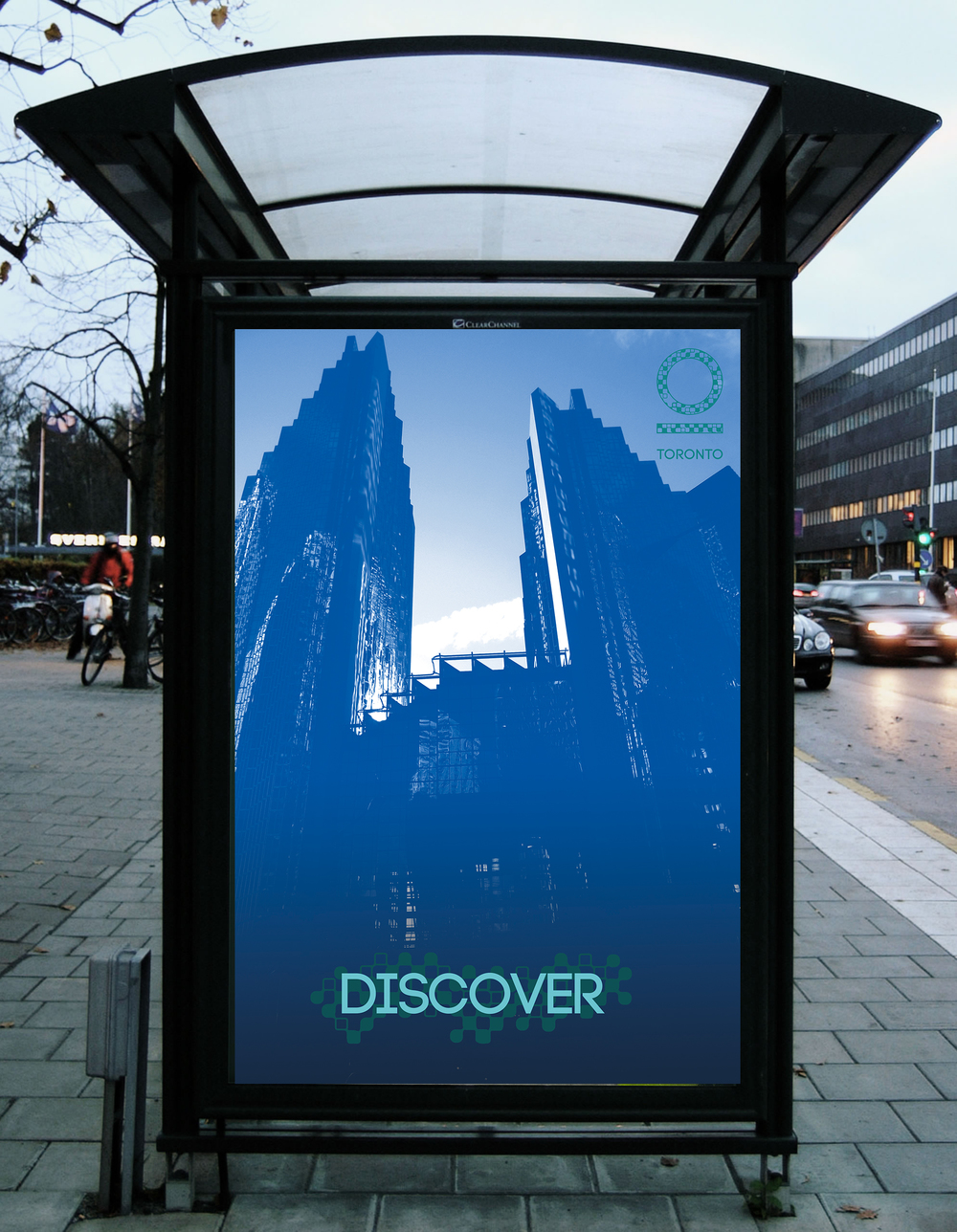 outdoor print advertising banner for a transit stop