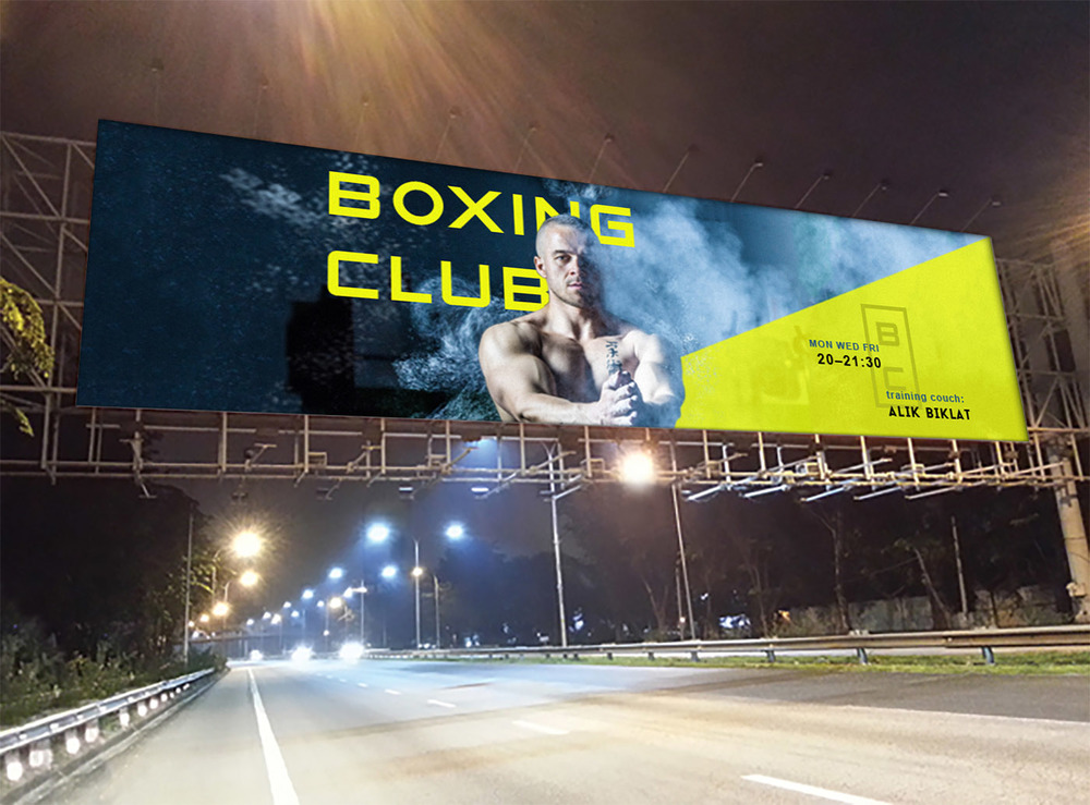 Outdoor advertising banner for boxing club