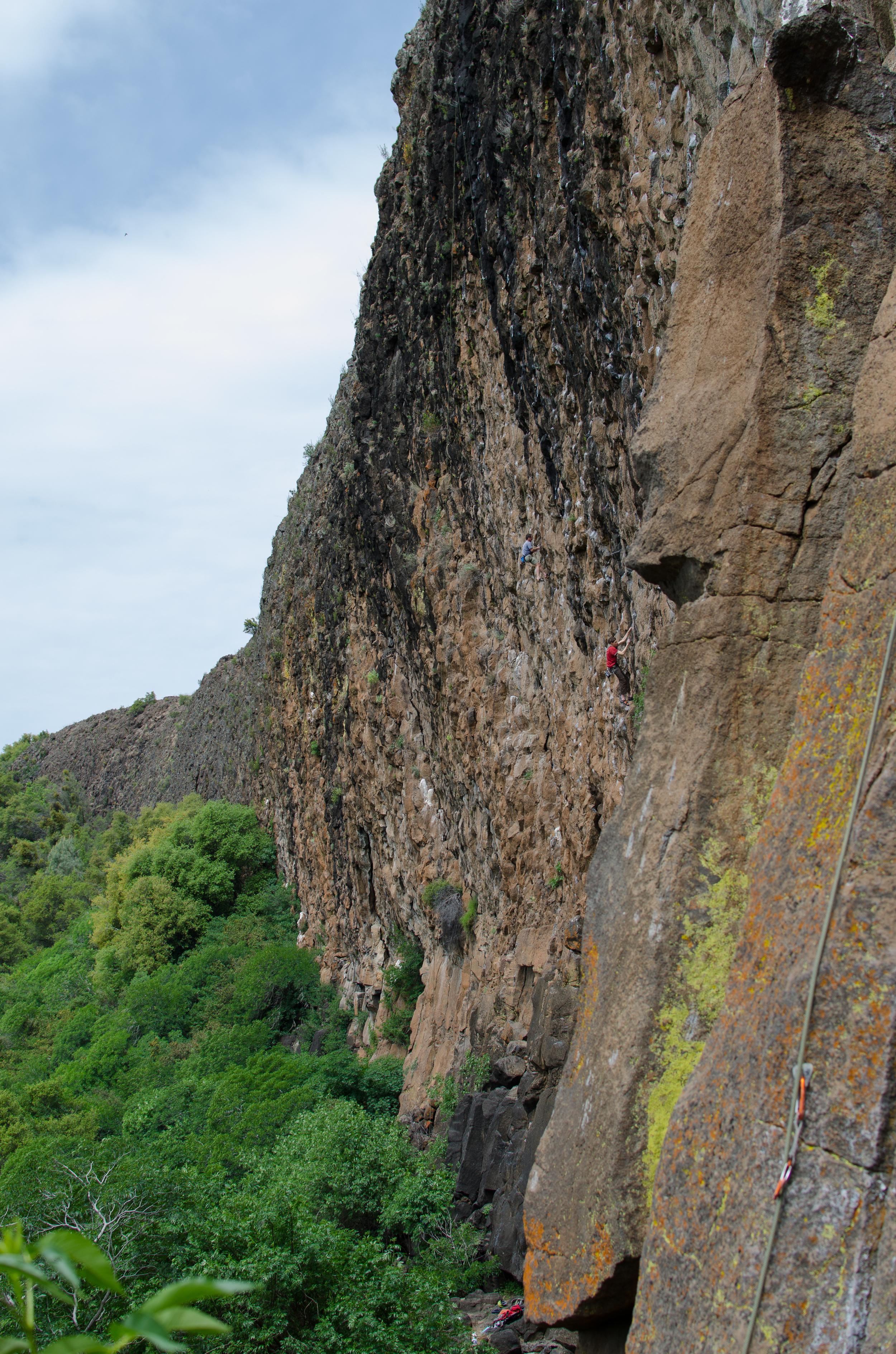 Beautiful overhanging sport climbing