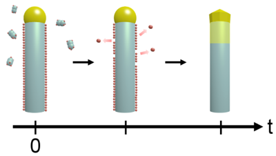 Illustration of hydrogen desorption and subsequent catalyst droplet solidification.