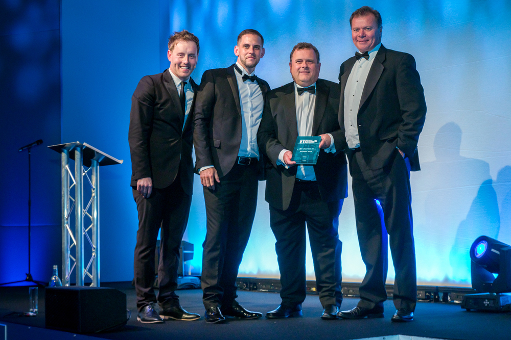 James Ormiston, MD of Circdata, presents award to InGo's Richard Sarbutts and Paul Klee, Digital Business Development Manager at dmg :: events