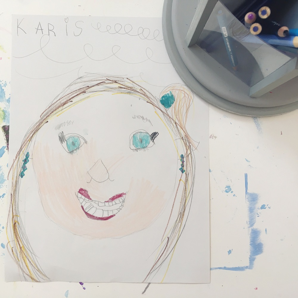 Self Portrait, by Karis Kiser (July 2016). (She clearly got tired of coloring in her face. Ha!)